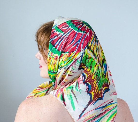 1940s vintage scarf / rainbow silk butterfly scarf - image 5