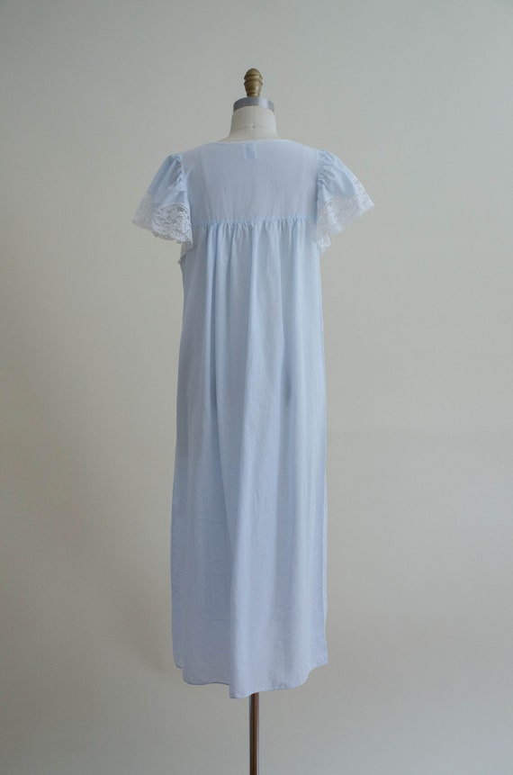 pale blue house dress | lace trim house coat - image 8