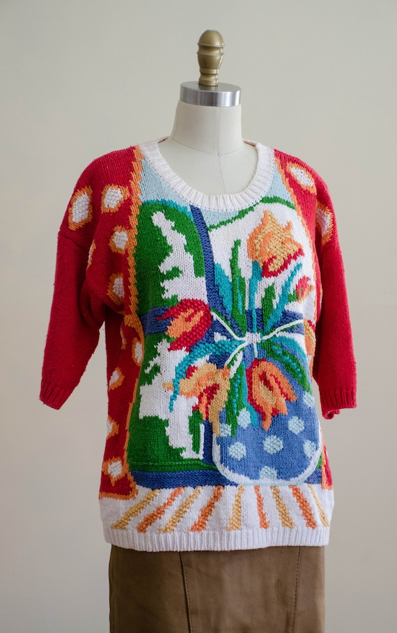 scenic sweater   red floral sweater   short sleev… - image 5