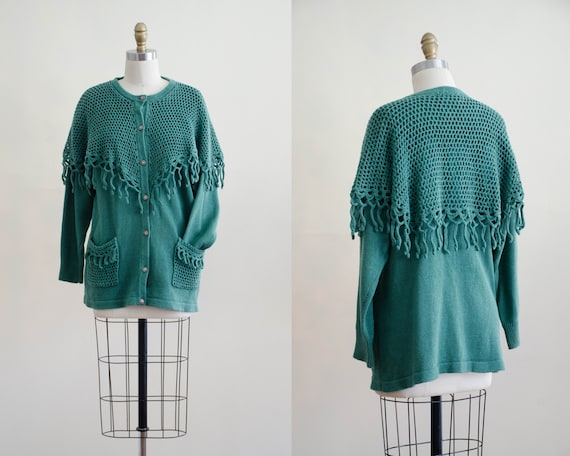 green crochet cardigan | green fringed sweater