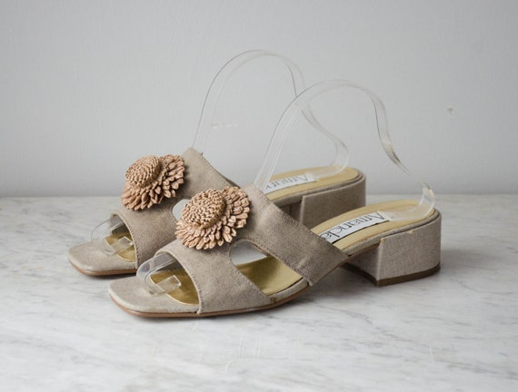 chunky sandals | taupe fabric mules | 1990s shoes… - image 4