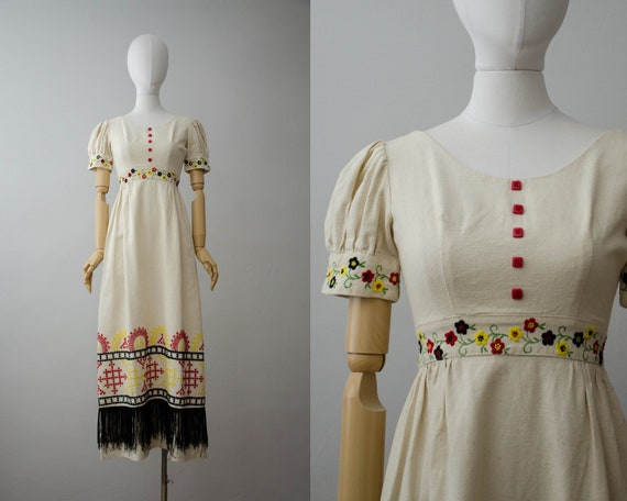 1960s embroidered dress | cotton maxi dress