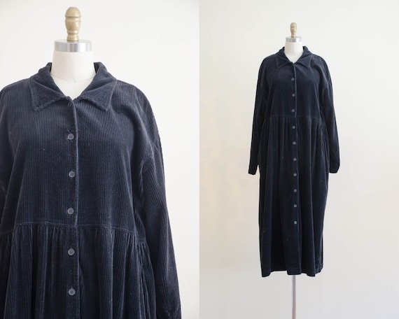 black corduroy dress | plus size dress | oversized
