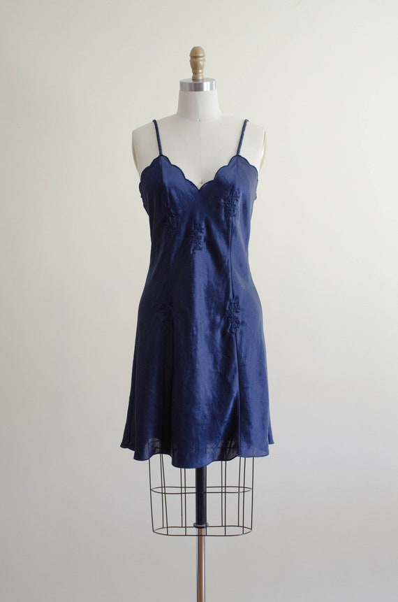 navy silky nightgown   embroidered nightgown - image 2