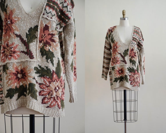 scenic sweater | floral cotton sweater | patchwork