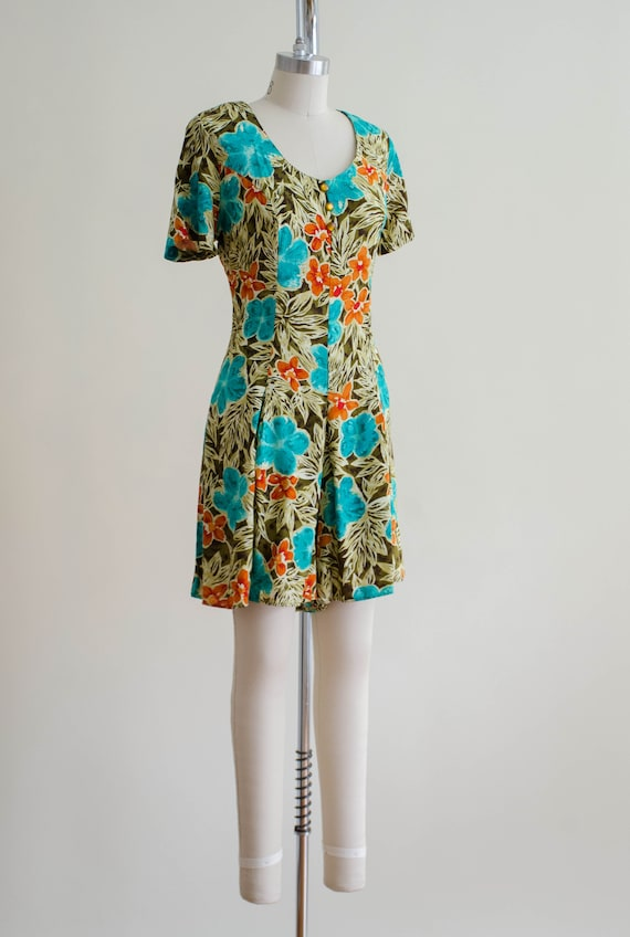 tropical floral romper   short sleeve vintage rom… - image 5