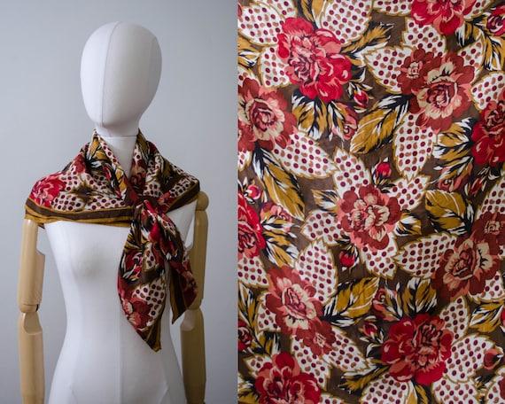 Albert Nipon silk scarf   red floral scarf
