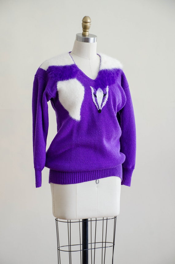 vintage purple fox sweater | fuzzy angora sweater… - image 6
