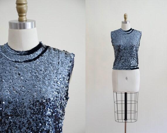 black sequined top | 1950s sequin knit top