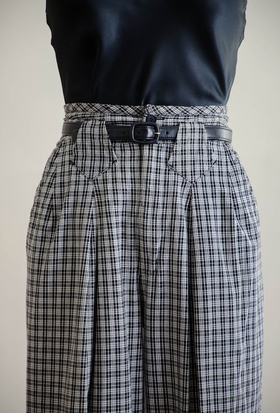 high waisted pants | 80s black and white plaid tr… - image 3