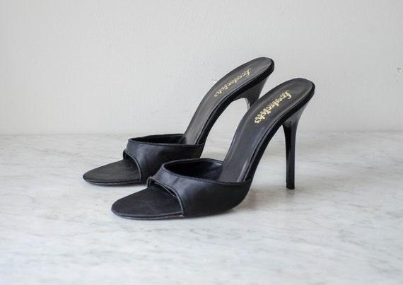 Fredericks of Hollywood black silk heels   90s vi… - image 1