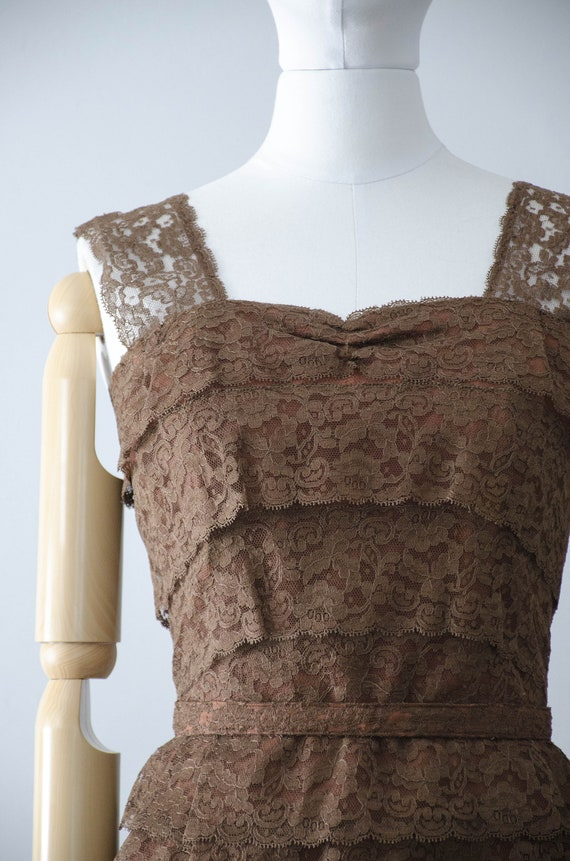 1950s dress and jacket set | brown lace wiggle dr… - image 3