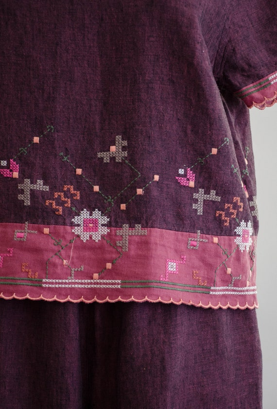 linen lounge set | burgundy embroidered lounge set - image 4