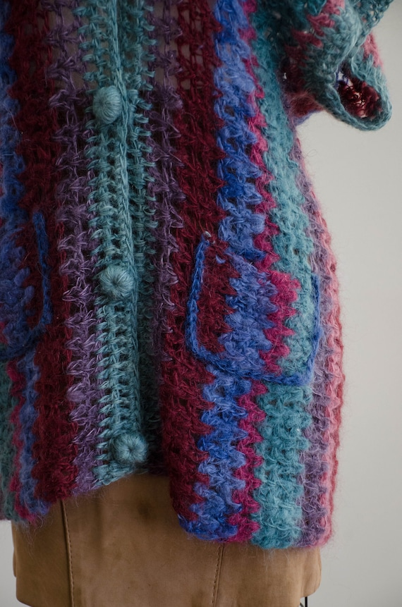 long mohair sweater | hand knit mohair vest | Ros… - image 5