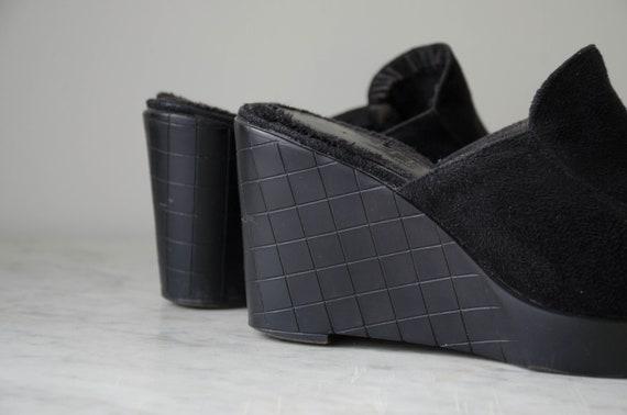 black wedge mules | 90s y2k vintage minimal black… - image 6