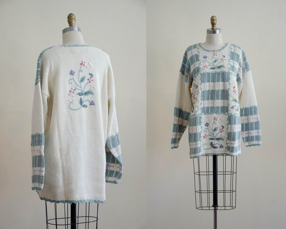 patchwork floral sweater | oversized cotton sweate