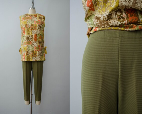 olive green stirrup pants | 1960s stirrup pants