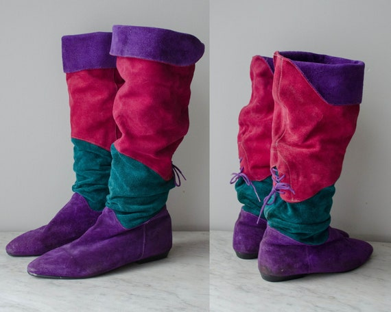 knee high boots | purple suede boots | 1980s boots