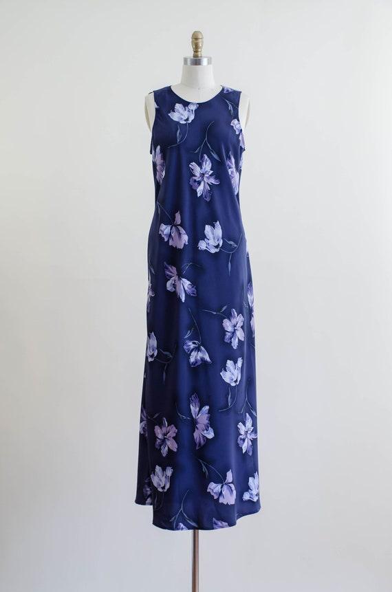 90s blue floral maxi dress | 30s style bias cut f… - image 3