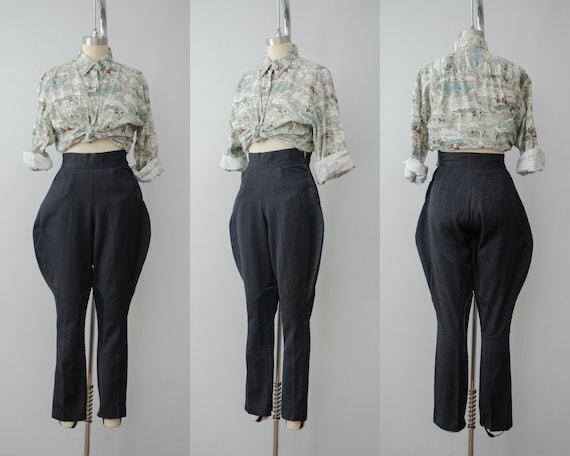 1940s wool jodhpurs | black riding pants
