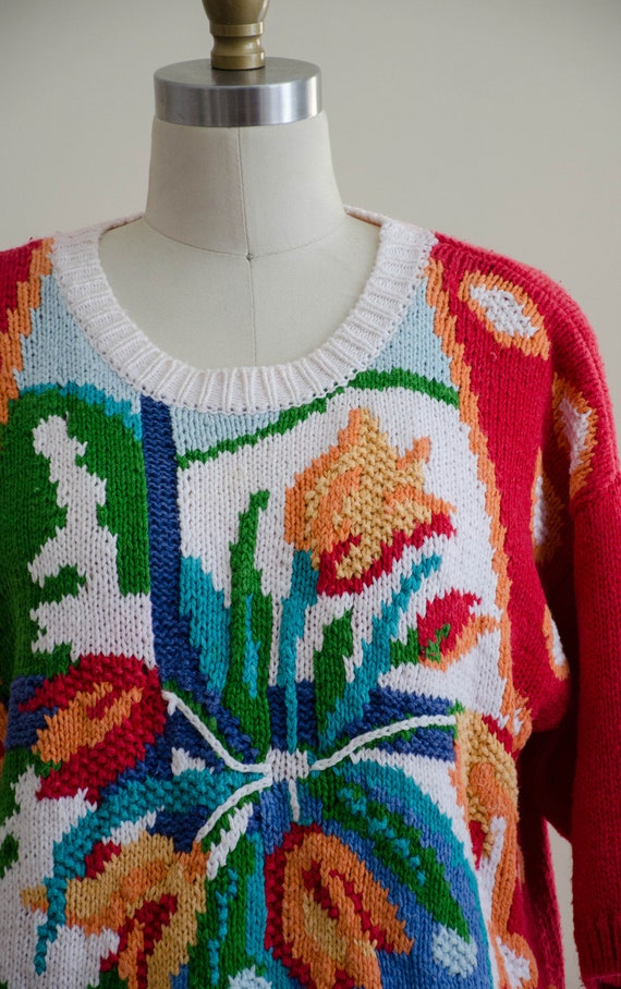 scenic sweater   red floral sweater   short sleev… - image 4