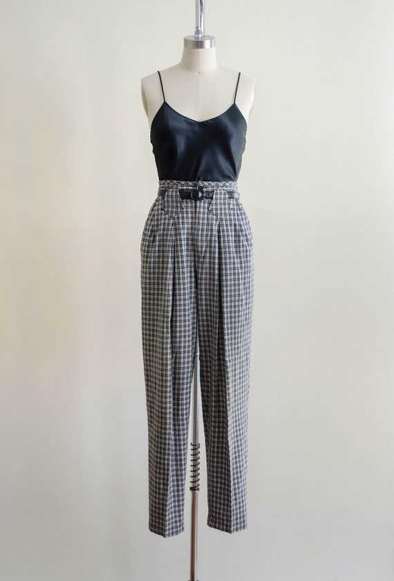 high waisted pants | 80s black and white plaid tr… - image 2