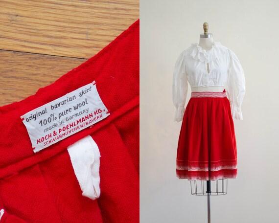 1950s Bavarian wool skirt | red wool skirt | tradi