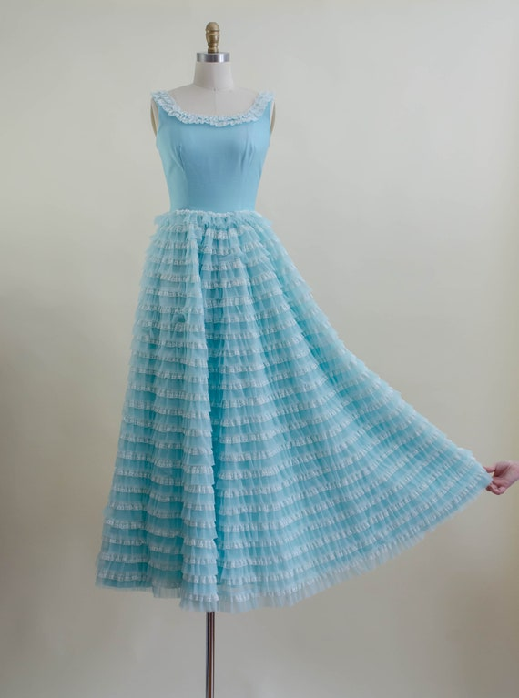 50s blue tulle ball gown   aqua turquoise white l… - image 4