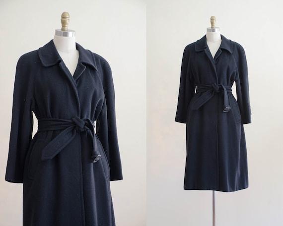 black wool coat | black belted coat | Aquascutum c