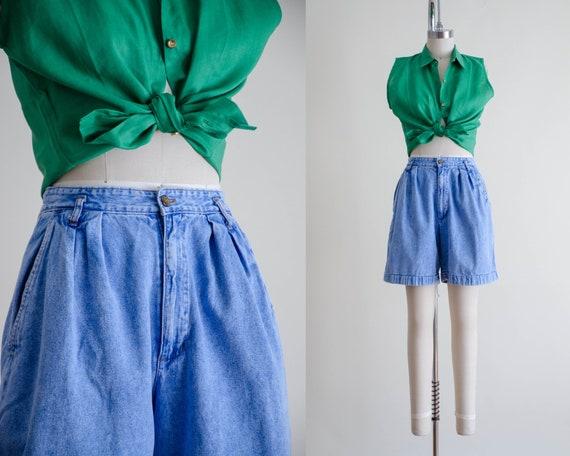 high waisted shorts | pleated denim shorts