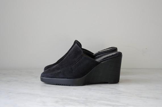 black wedge mules | 90s y2k vintage minimal black… - image 1