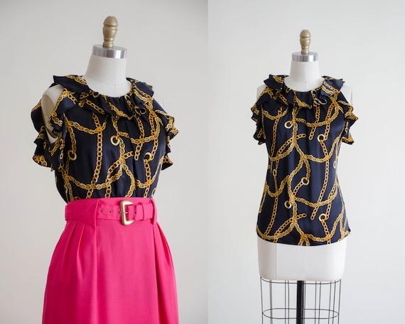 chain print blouse | black silk blouse