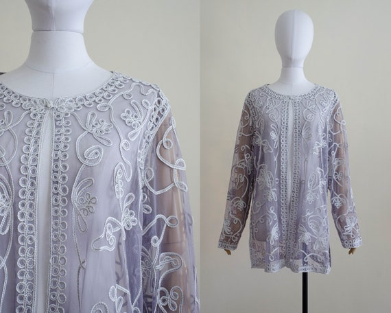 gray mesh jacket | Victor Costa jacket