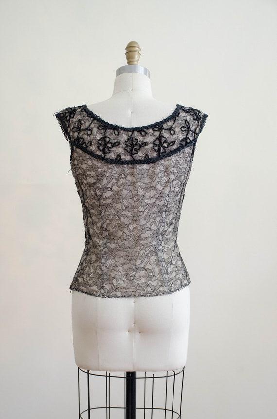 1950s black lace top | lace illusion blouse - image 8