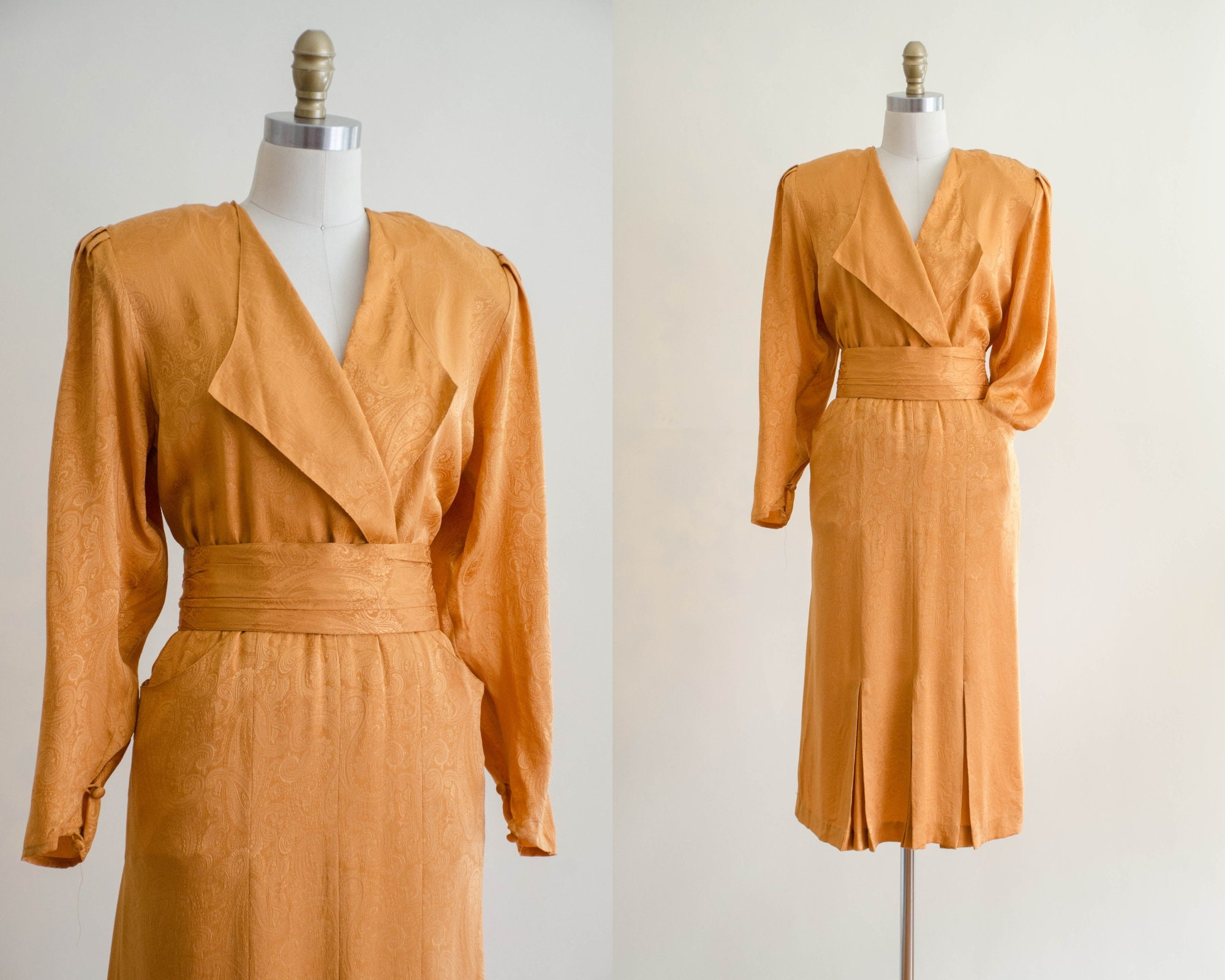 80s Dresses | Casual to Party Dresses 1980S Dress  Mustard Yellow Silk Womens Vintage Clothing $25.00 AT vintagedancer.com