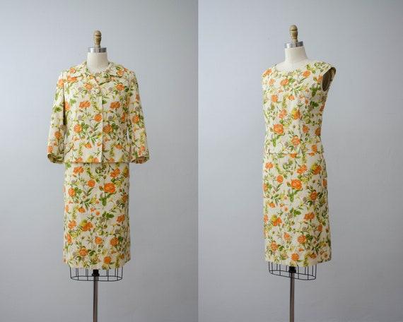 three piece suit | 1950s  floral suit