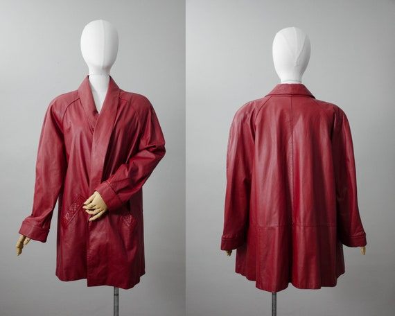 dark red leather jacket | red leather swing coat |