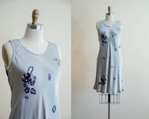 silver silk slip dress | sleeveless floral silk dr