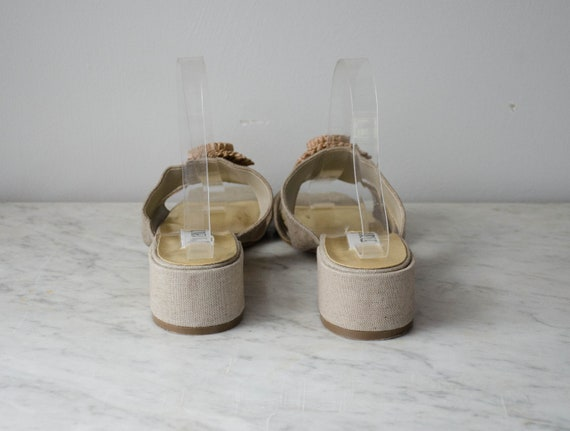 chunky sandals | taupe fabric mules | 1990s shoes… - image 6