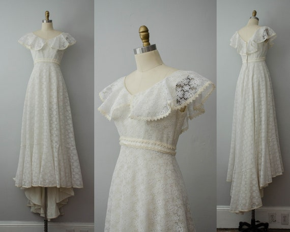lace wedding dress | 1960s empire waist wedding dr