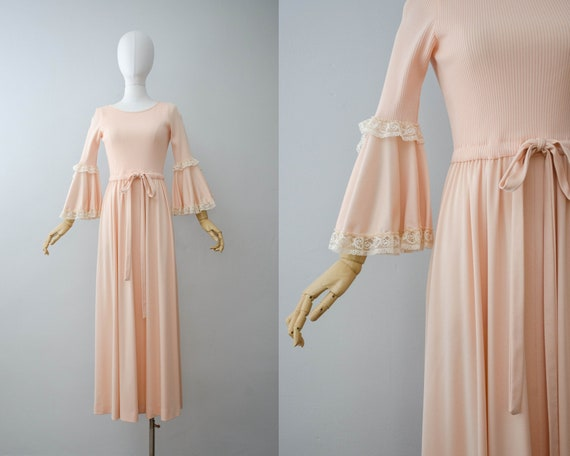 peach maxi dress | bell sleeve dress