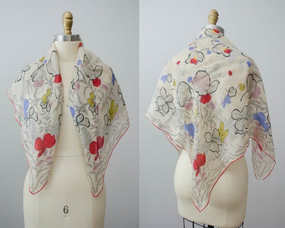 large square silk scarf | floral silk scarf | 1940