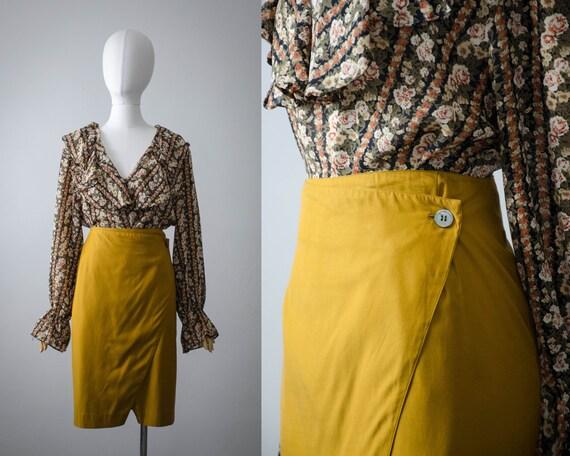 mustard yellow wrap skirt   yellow silk skirt   tu