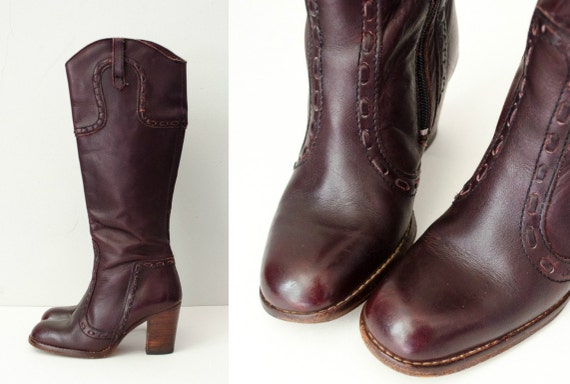 oxblood size leather boots leather 6 boots high knee 1970s dark qt6gOwnRtv