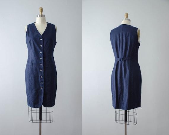 minimal navy blue linen dress   1990s dress