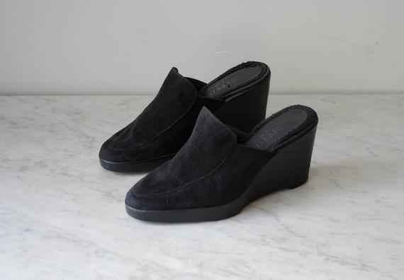 black wedge mules | 90s y2k vintage minimal black… - image 3