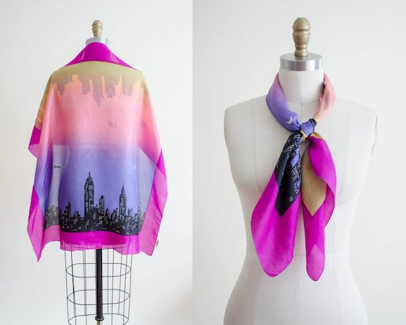 rare 1950s novelty print silk scarf | city skyline