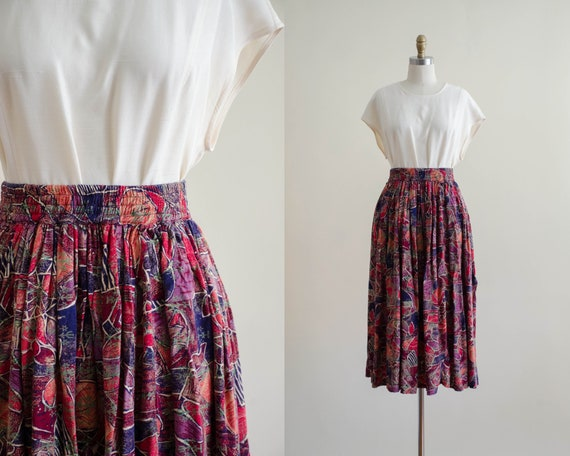 floral midi skirt | floral batik skirt