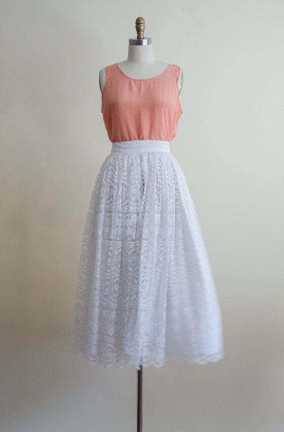 white lace midi skirt | full white lace skirt - image 5