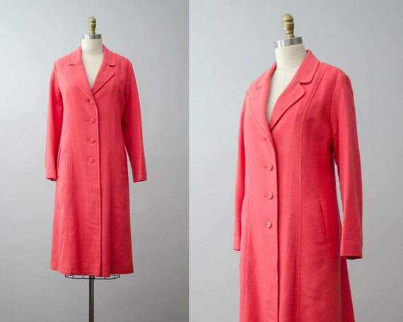 long wool coat | salmon pink coat